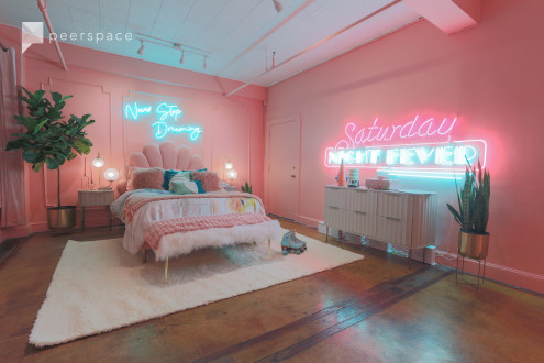Downtown 80s Neon Pink Loft w/ Bed and Bathtub in Central LA, Los Angeles, CA | Peerspace