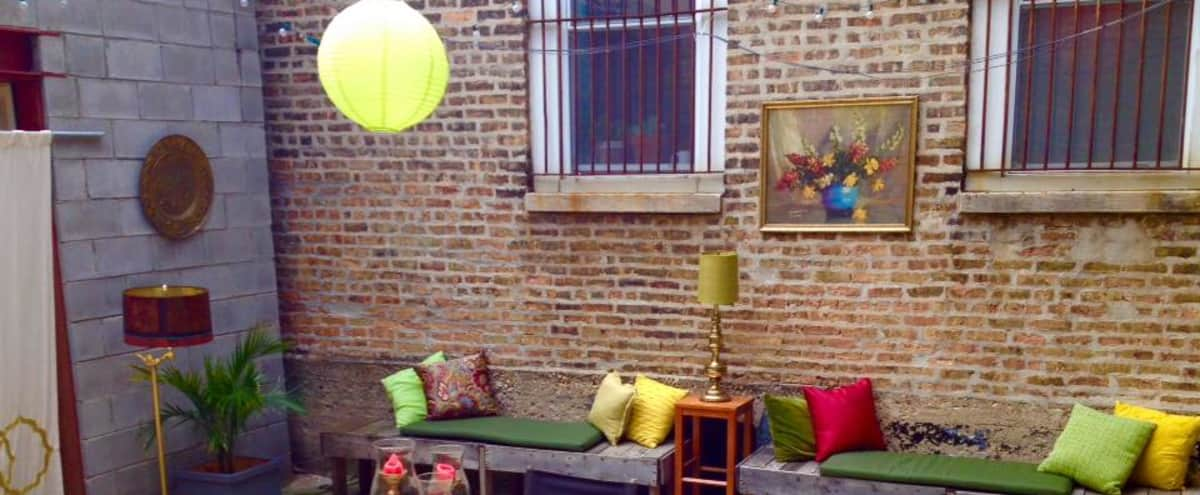 Open air patio space behind a handsome vintage men's haberdashery in Humboldt Park, Chicago in Chicago Hero Image in Humboldt Park, Chicago, IL