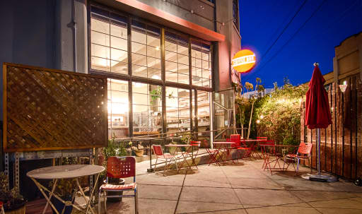 Industrial, architecturally distinctive multi-level , indoor & outdoor cafe in Mission District, San Francisco, CA | Peerspace