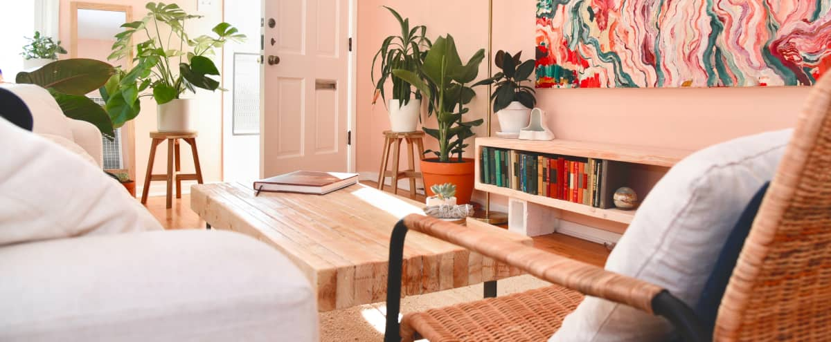 Pink Boho Venice Bungalow with Tropical Plants in Venice Hero Image in Venice, Venice, CA