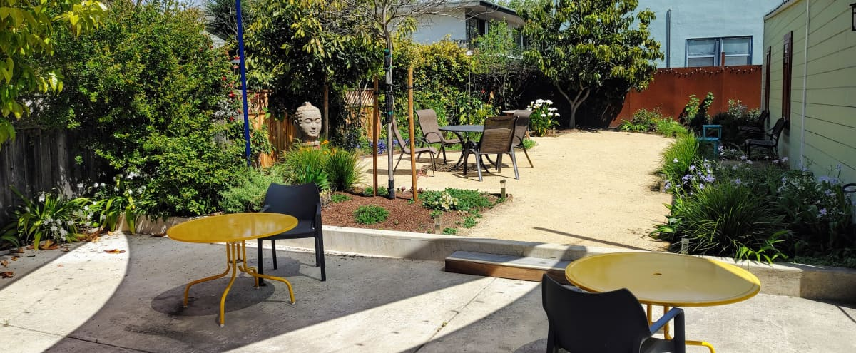 Gorgeous, spacious, outdoor patio - perfect for workshops, baby showers, receptions, outdoors socially distanced meetings in Berkeley Hero Image in Southwest Berkeley, Berkeley, CA