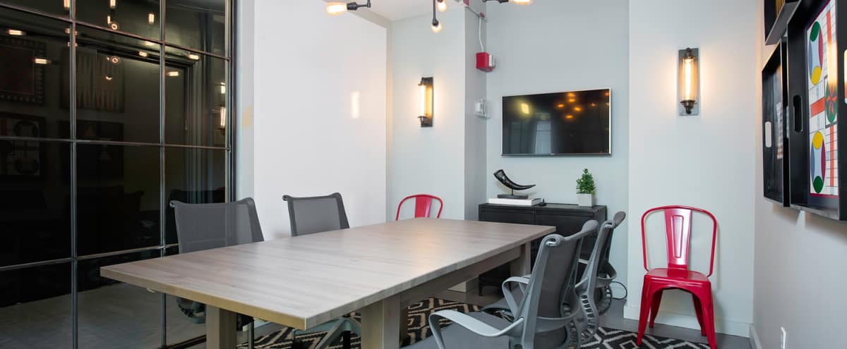 Stylish Conference Room with TV and Whiteboard Wall in New York Hero Image in Midtown, New York, NY