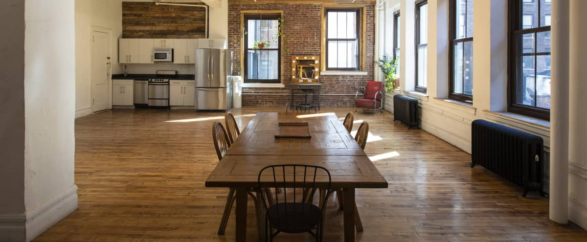 Sunny Loft in NoMad, natural light, reclaimed wood, white canvas wall, exposed brick GREAT for Video/Photo Productions, Meetings, Workshops, Castings & Livestreaming in New York Hero Image in Midtown, New York, NY