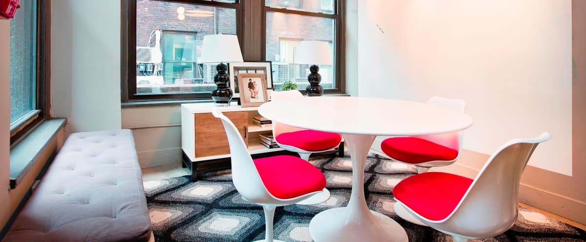 Sleek meeting room with natural light & whiteboard wall in New York Hero Image in Midtown, New York, NY