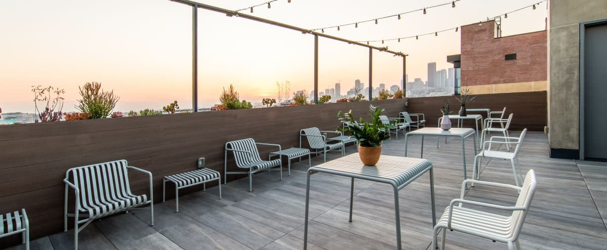 Rooftop patio event space perfect for a gorgeous sunset overlooking DTLA and the Arts District in Los Angeles Hero Image in Central LA, Los Angeles, CA