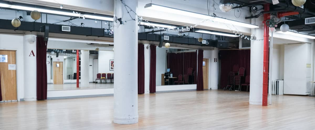 Ballroom Grand Studio for fitness, dancing, casting calls, photo shoots, meetings, lectures, etc. in New York Hero Image in Midtown, New York, NY