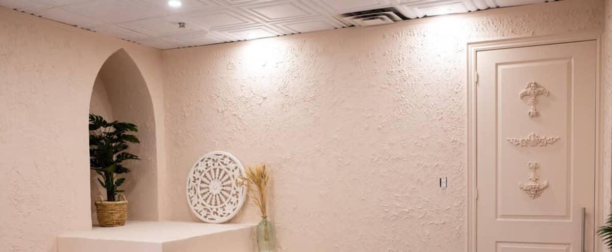 Naturally Lit Bohemian Pink Room With Textured Walls in Brampton in Brampton Hero Image in undefined, Brampton, ON
