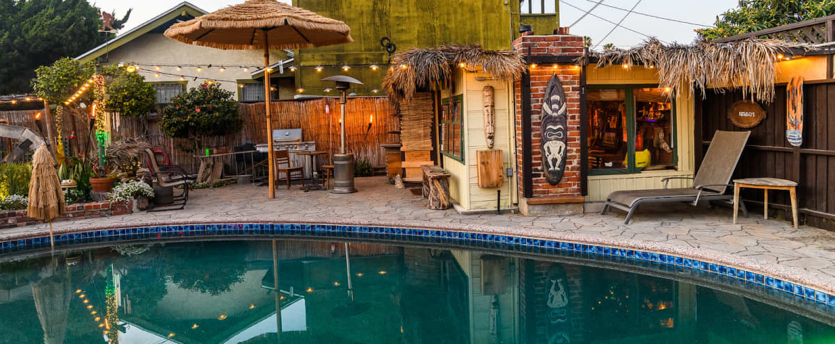 Vintage Backyard w Tiki Bar, Swimming Pool,  and Pond in Long Beach Hero Image in Rose Park, Long Beach, CA