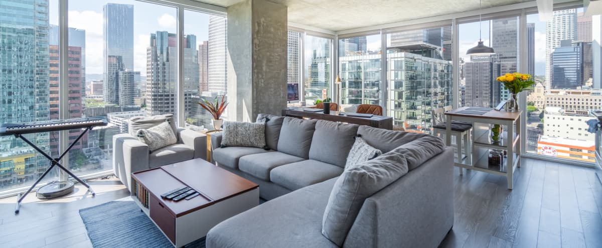 Downtown modern floor to ceiling apartment facing skyline view in Los Angeles Hero Image in Downtown Los Angeles, Los Angeles, CA