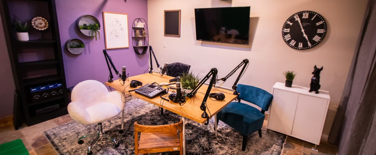 Acoustically-Treated Podcasting Studio Formatted With Three Possible Video Backdrops in North Hollywood Hero Image in North Hollywood, North Hollywood, CA