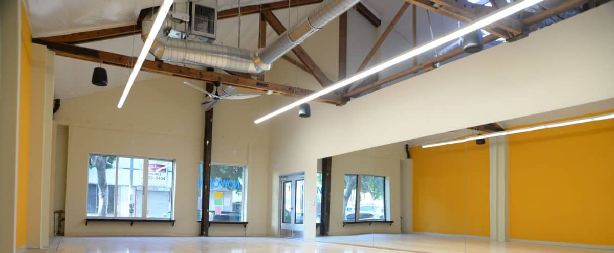 Studio 1 in DTLA: Industrial Chic Dance & Filming Space with Exposed Brick &  Wood Beam Ceilings in Los Angeles Hero Image in Downtown, Los Angeles, CA