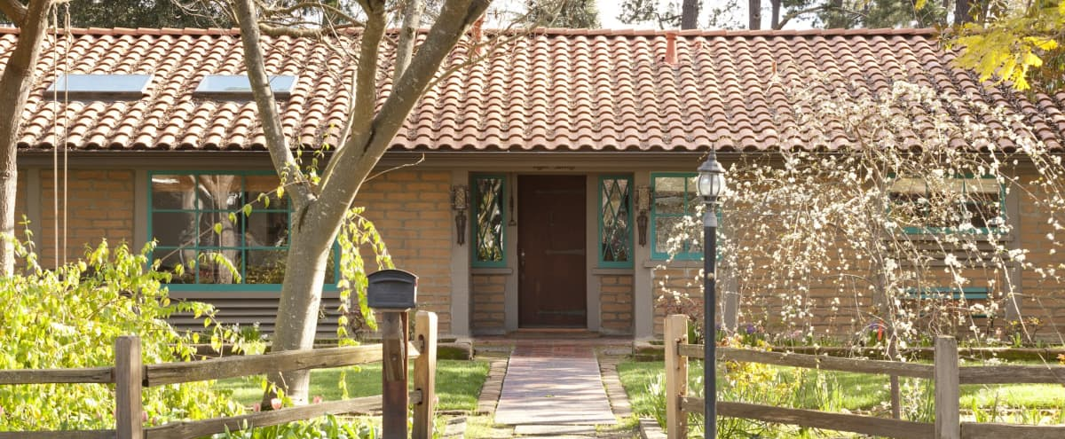 Unique Adobe House with Classic Mission Architecture in Peninsula in Los Altos Hero Image in Loyola Corners, Los Altos, CA