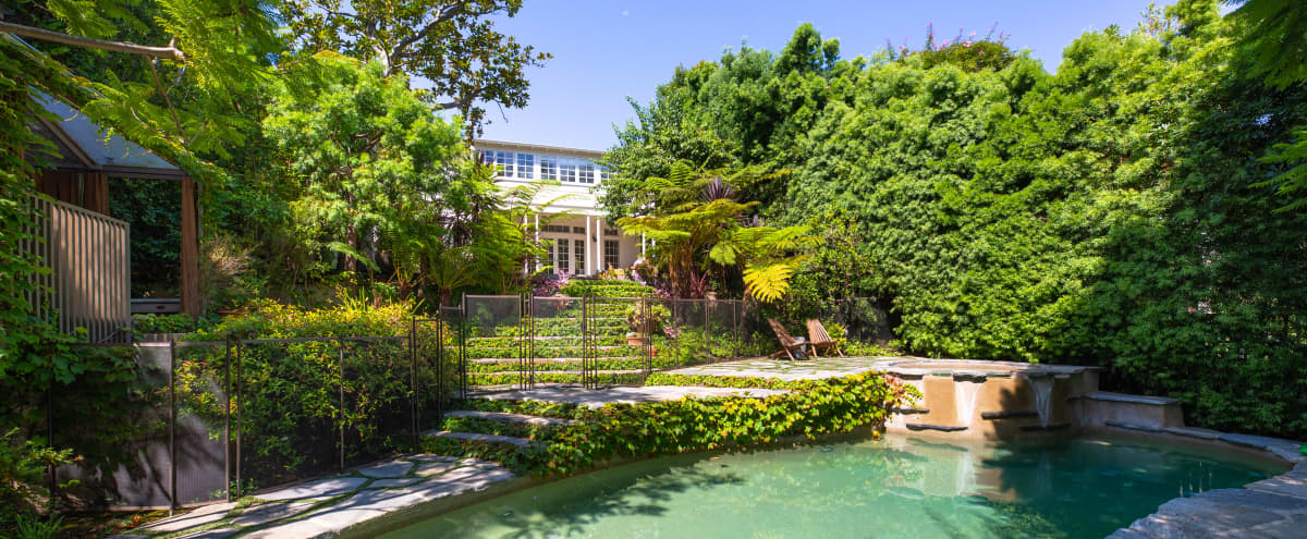 1930s Federal-style Home with Lush Gardens, Pool in Los Angeles Hero Image in Brentwood, Los Angeles, CA