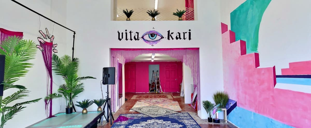 Psychedelic Creative Studio/Event Space Loft with Mediterranean Mural in Los Angeles Hero Image in Jefferson Park, Los Angeles, CA