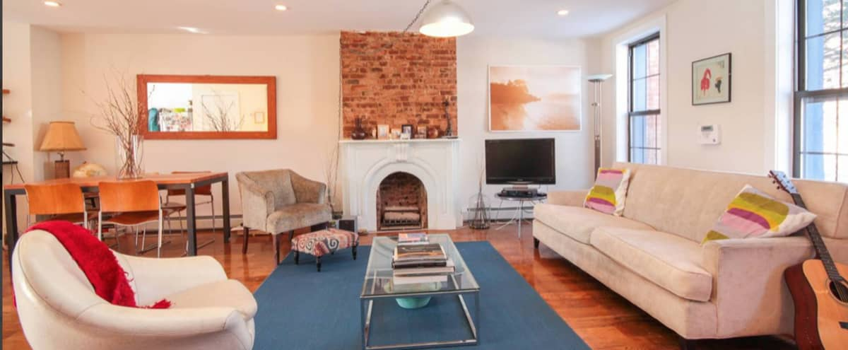 Brooklyn House with fireplaces, exposed brick, and rooftop garden in Brooklyn Hero Image in Bedford-Stuyvesant, Brooklyn, NY