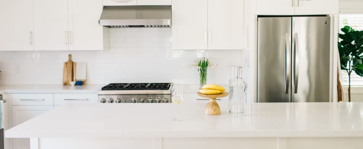 All White Kitchen With Chefs Stove. Perfect For The Up And Coming Chef Or Food Company Looking To Profile Their Cooking, Food Or Company in Redondo Beach Hero Image in North Redondo, Redondo Beach, CA