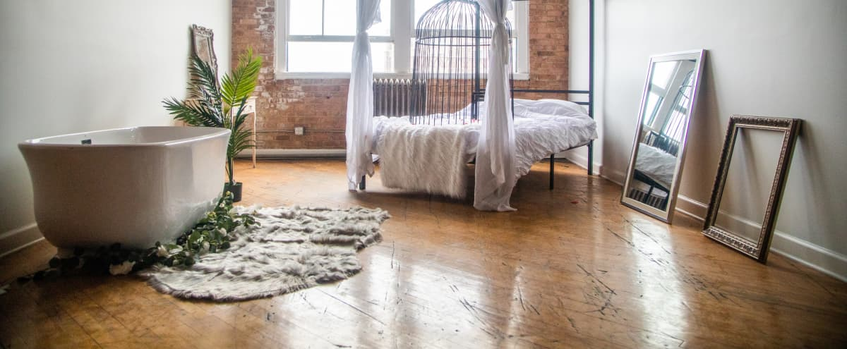 Boudoir + Fashion + Lifestyle Space | Pilsen Industrial Riverfront Loft in Chicago Hero Image in Lower West Side, Chicago, IL