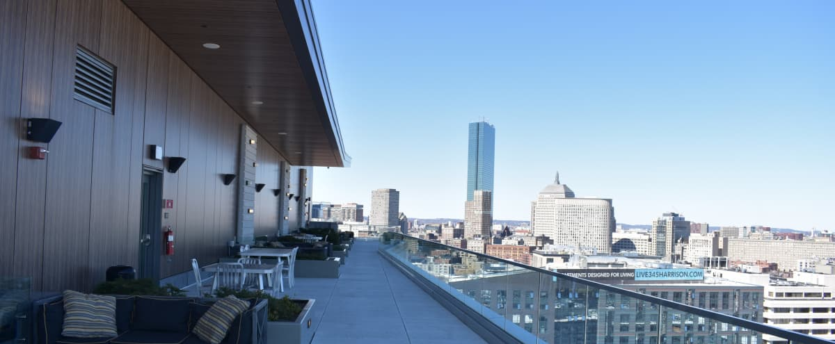 Roof Deck Terrace with Skyline Views in Boston Hero Image in Shawmut, Boston, MA