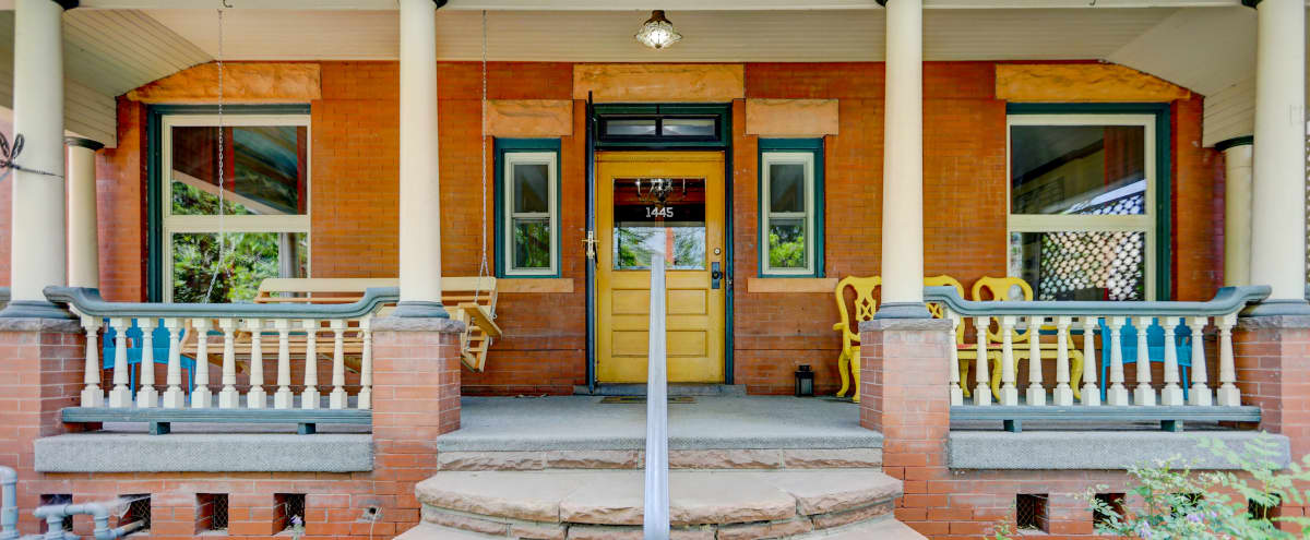 Elegant Downtown Victorian Porch Balcony Lighted Back Yard in Denver Hero Image in Cheesman Park, Denver, CO