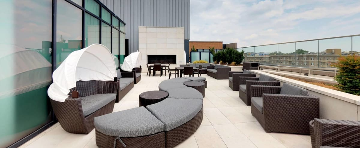 Rooftop Lounge and Dinning Room with Stunning View of Down Town DC in Washington Hero Image in Cardozo Shaw, Washington, DC