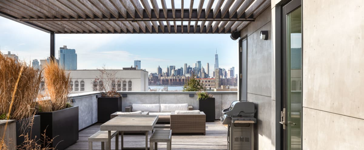 Rooftop with Skyline views annexed to minimal penthouse duplex in Brooklyn Hero Image in Greenpoint, Brooklyn, NY