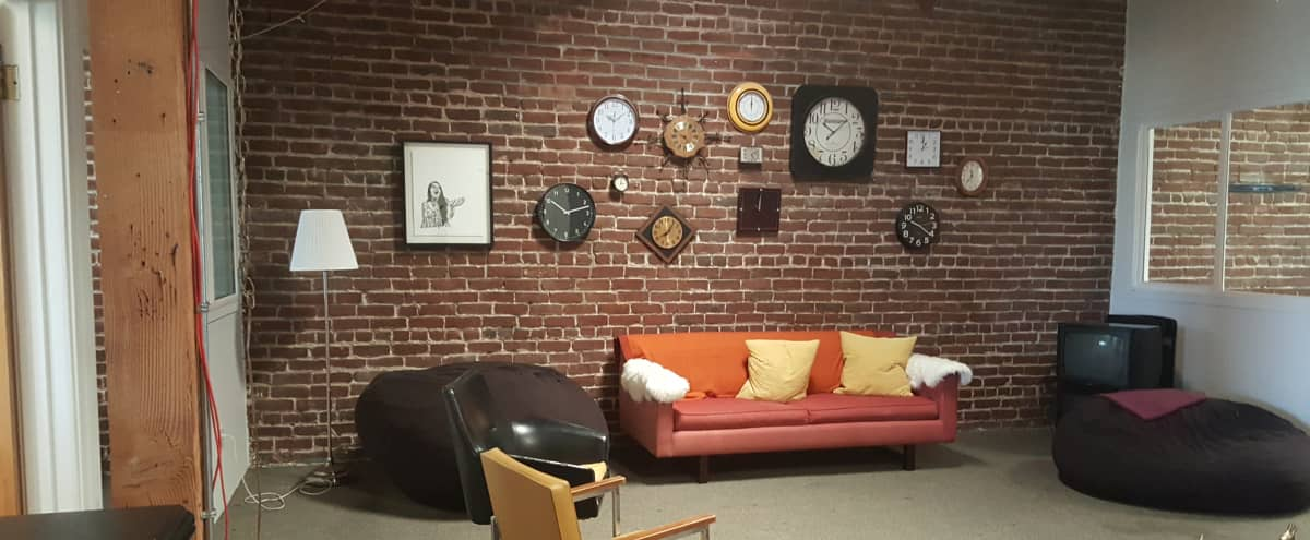 Creative Lounge with Natural Light and Exposed Brick in San Francisco Hero Image in South of Market, San Francisco, CA