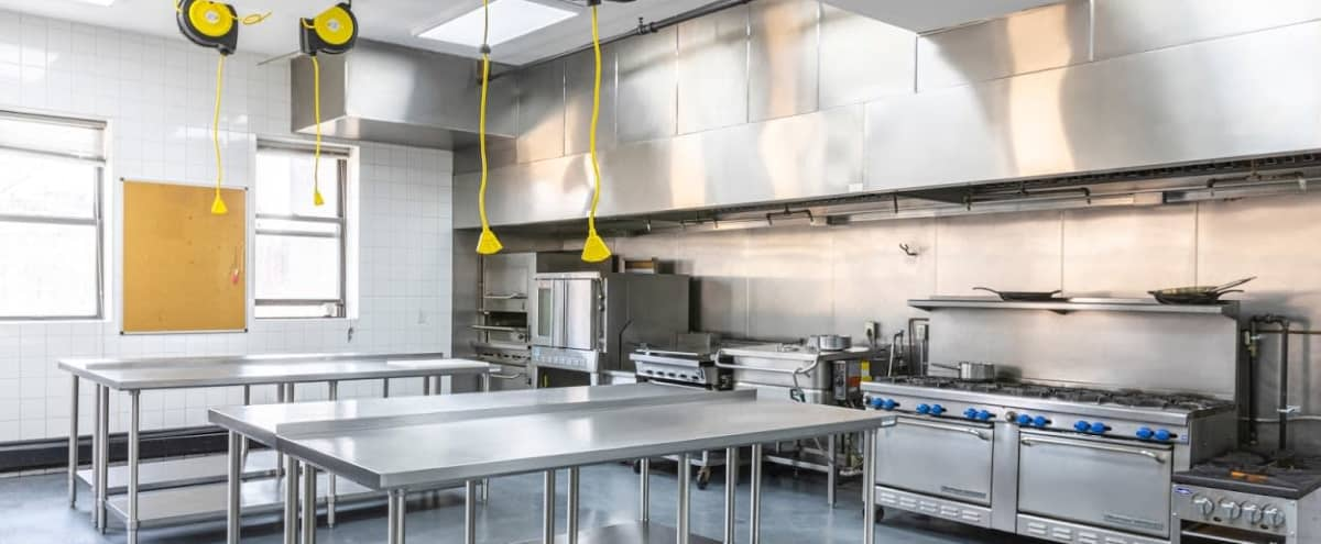 Commercial Kitchen With Loads of Light and Stainless Steel Appliances for Filming in New York Hero Image in East Harlem, New York, NY