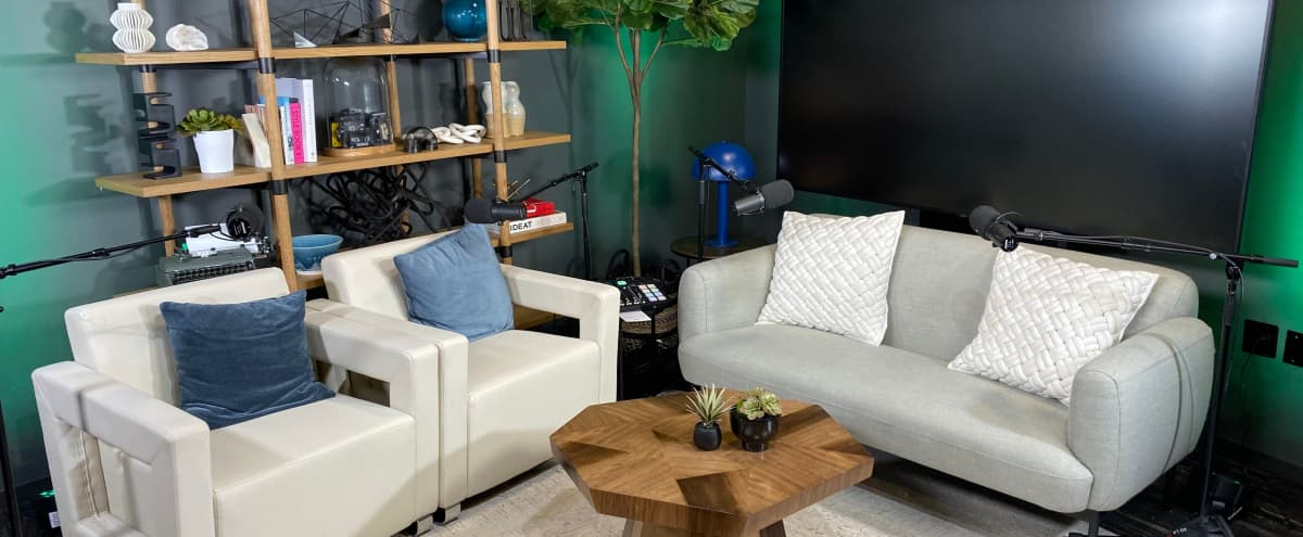"""Soundproof Podcast & Production Studio [Free In-House Equipment + Multiple Cameras + Colored Uplights + 90"""" TV screen for visuals] in Los Angeles Hero Image in Central LA, Los Angeles, CA"""