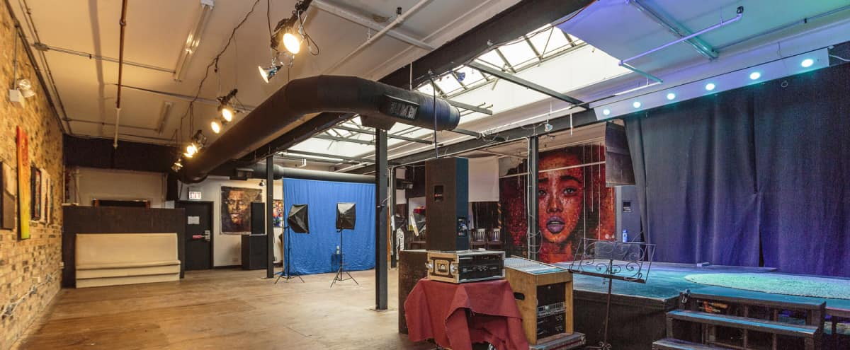 Creative Event Space + Production Studio with Stage in Chicago Hero Image in West Town, Chicago, IL