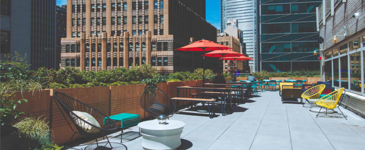 Hidden gem rooftop terrace overlooking the iconic Times Square in New York Hero Image in Midtown Manhattan, New York, NY