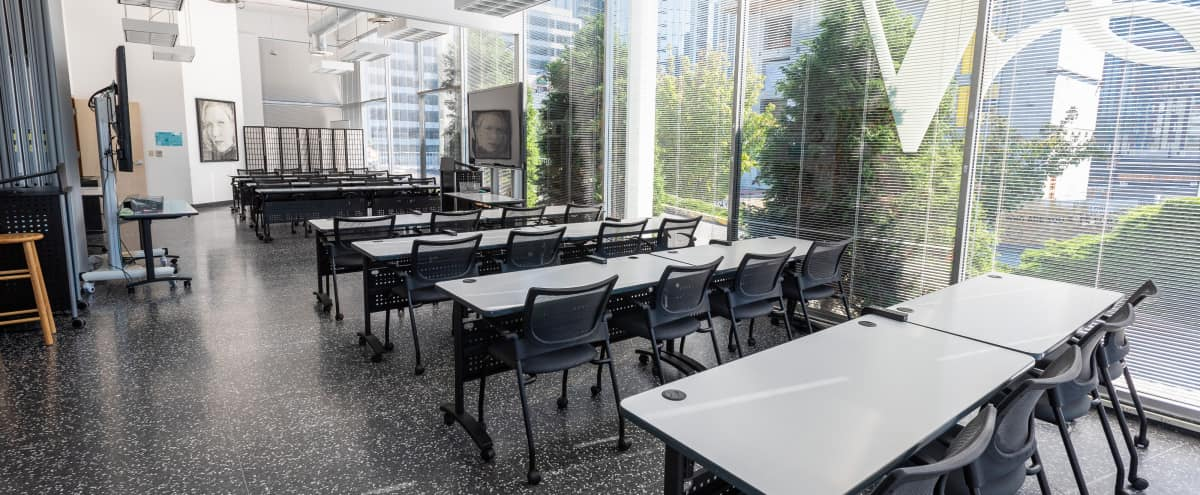 Large, Light-Filled Urban Classroom, Lecture, or Meeting Space for 40–80 (Rocky + Bullwinkle) in Seattle Hero Image in Belltown, Seattle, WA