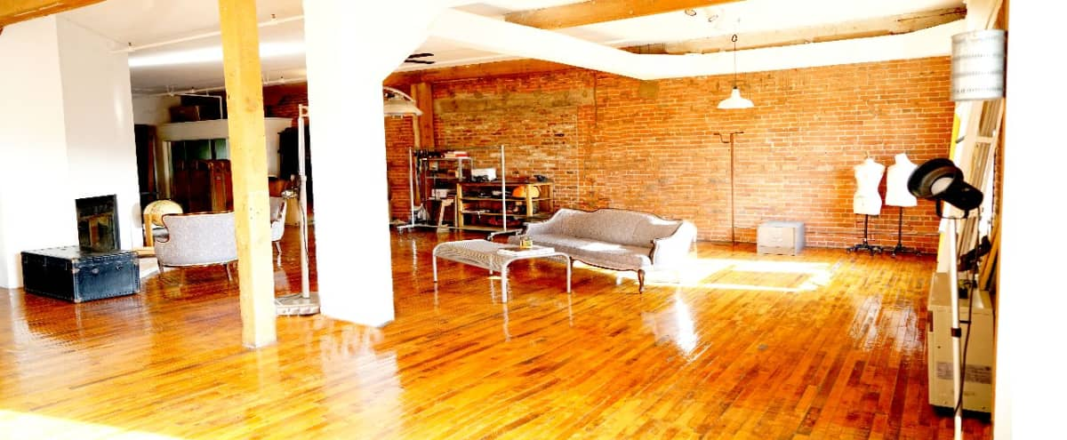 Sunlit NY Style loft DTLA, vintage furniture-cool props-exposed bricks-fireplace in Los Angeles Hero Image in Central LA, Los Angeles, CA