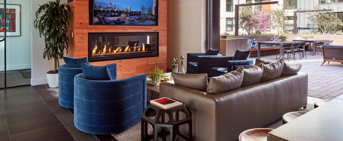 Modern and Lavish Lounge with Full Kitchen and Fireplace in San Francisco Hero Image in Design District, San Francisco, CA