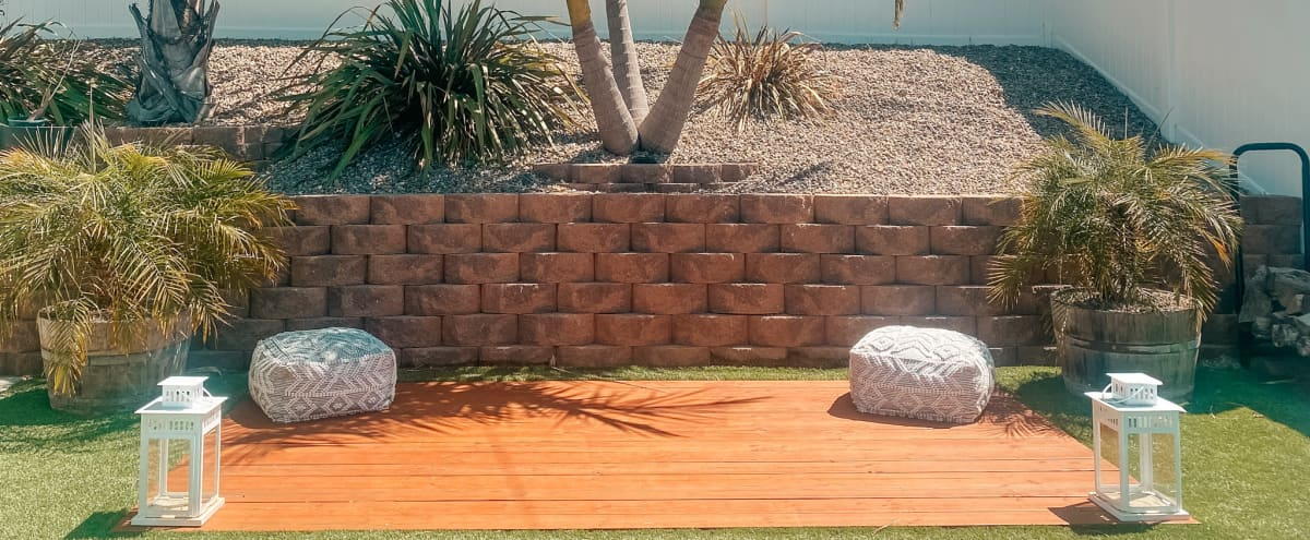 Beautiful Outdoor Yoga Deck for Photo/Video Shoots in San Diego Hero Image in Grantville, San Diego, CA