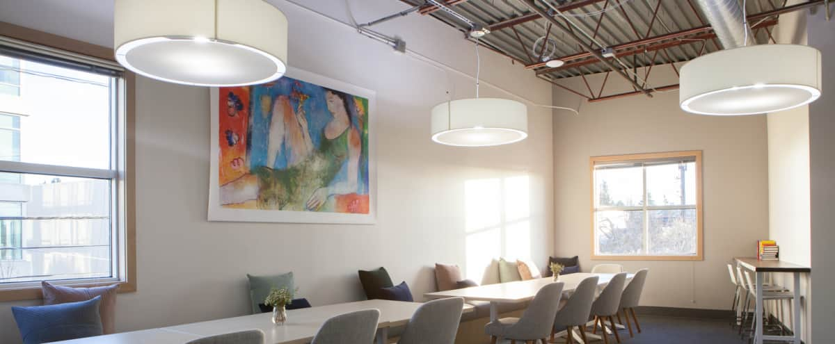 Large Event Space/Meeting Room with Colorful Backdrops & Natural Light in Seattle Hero Image in Wallingford, Seattle, WA