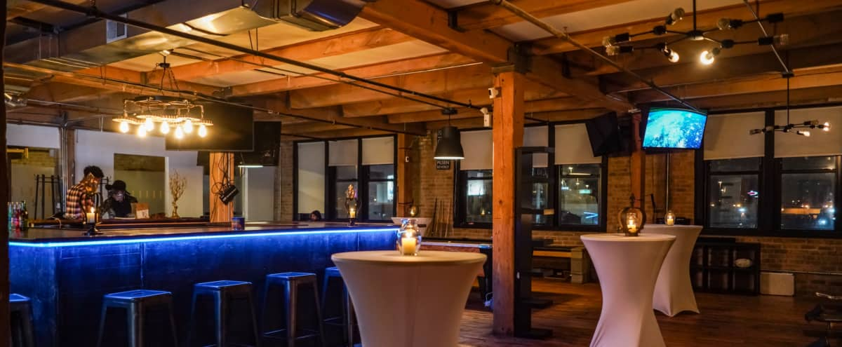Spacious Barber Salon Loft, with large dry bar, private room, pool table, fish pond, reception desk & plenty of TV's in chicago Hero Image in Pilsen, chicago, IL