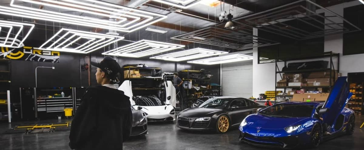 Epoxy floors, Modern LED Lighting Warehouse Exotic Car Production Showroom in Huntington Beach Hero Image in undefined, Huntington Beach, CA