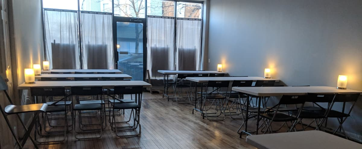 Charming Logan Square Art Gallery & Art Studio and event space, tables and chairs included in Chicago Hero Image in Logan Square, Chicago, IL