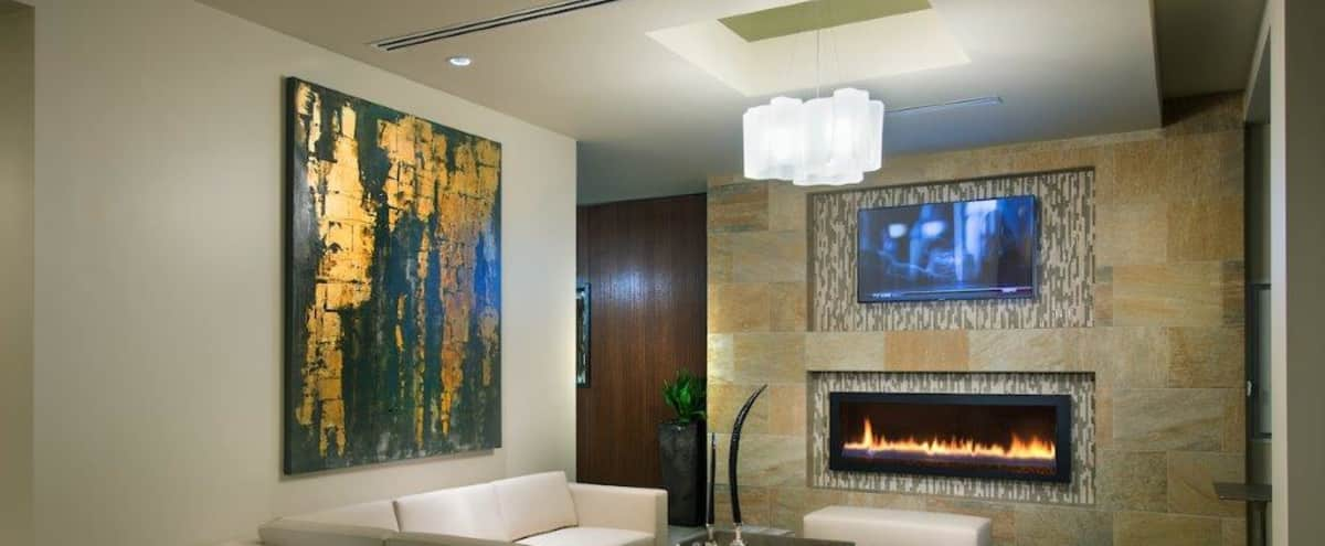 Modern Club Room with Flexible seating and Fireplace in Boston Hero Image in South Boston, Boston, MA