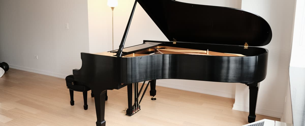 Minimalist Studio with Steinway B Piano in New York Hero Image in Lincoln Square, New York, NY