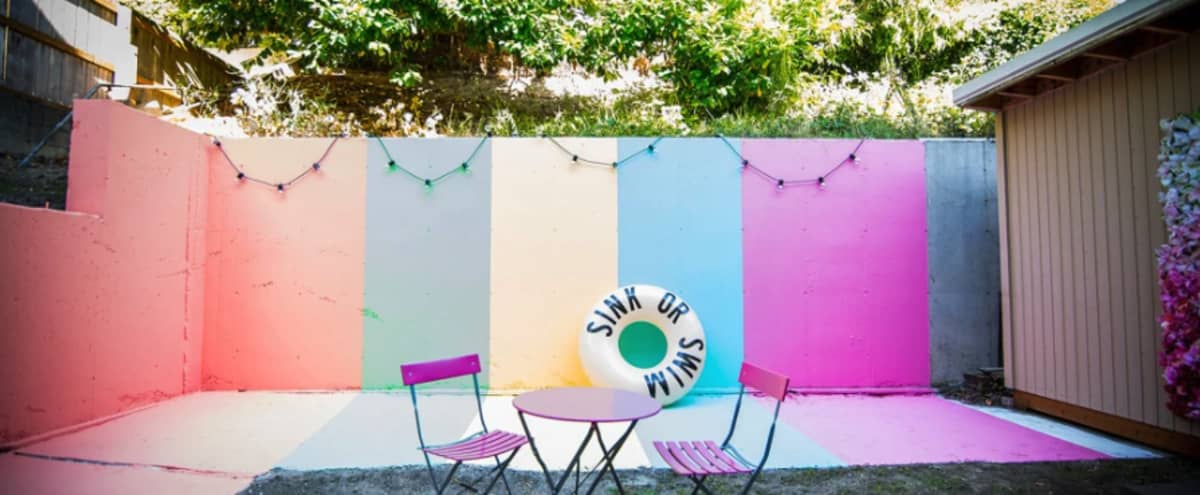 Bright and Colorful Outdoor Patio Event Space in Seattle Hero Image in North Admiral, Seattle, WA