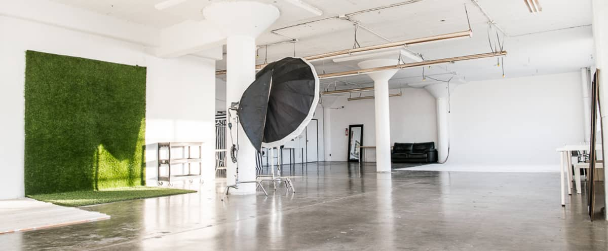 Bright Studio with Cyclorama, Artificial Grass, Shabby Wood corner in Downtown LA in Los Angeles Hero Image in Downtown, Los Angeles, CA