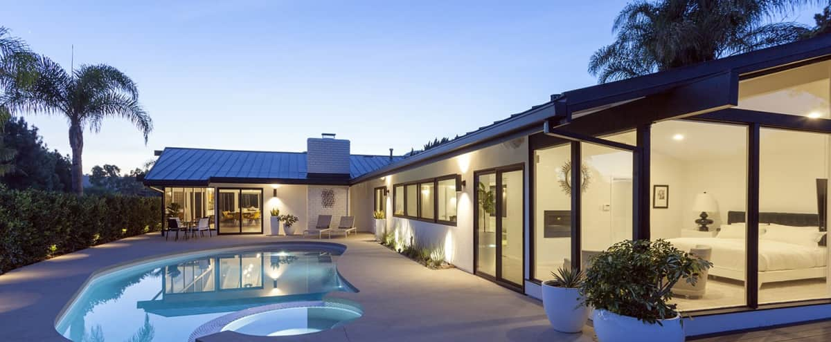 BRENTWOOD/BEL AIR MID CENTURY MODERN WITH SWEEPING CANYON VIEWS in LA Hero Image in Bel Air, LA, CA