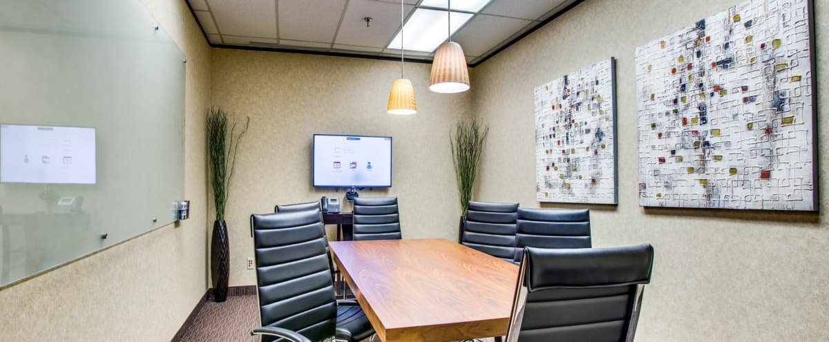 Corporate Meeting Room for 6 With Drop Down Projector in Dallas Hero Image in Northwest Dallas, Dallas, TX