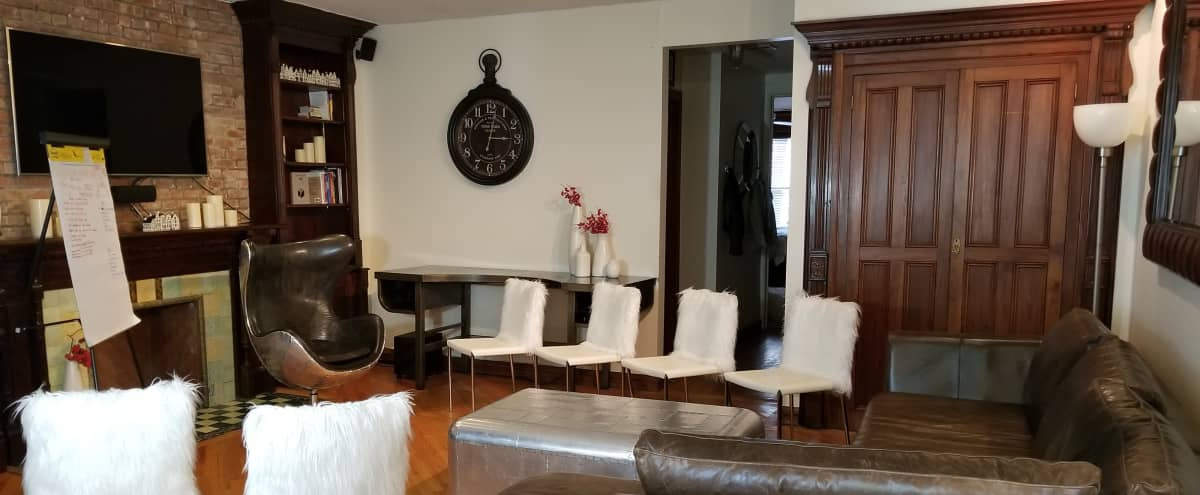 Charming Central Park Brownstone apartment packed with original features - Sitting room, balcony, bathroom, kitchen. in New York Hero Image in Upper West Side, New York, NY