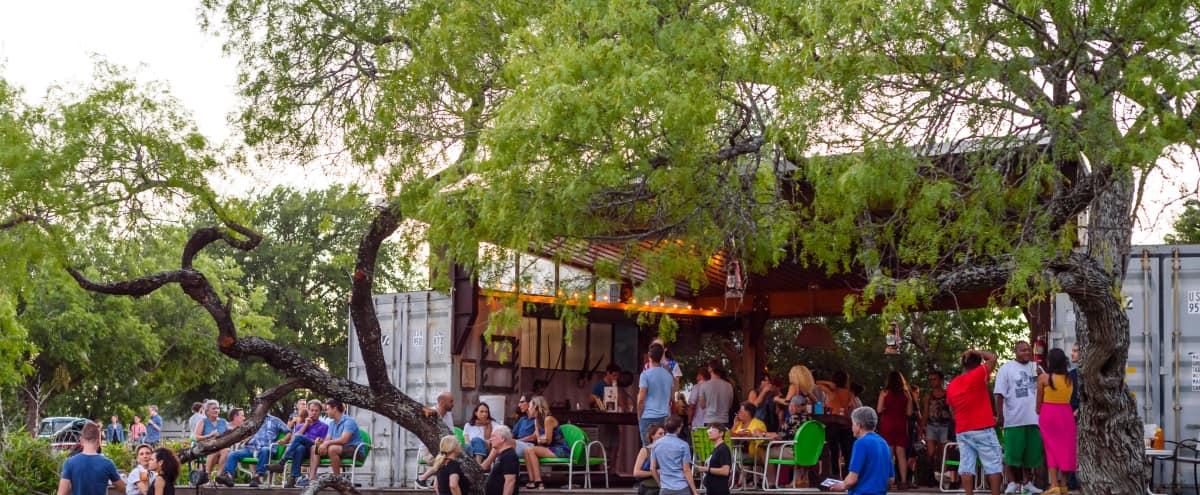 Sprawling Outdoor Urban Oasis for Film Screenings, Meetings, Intimate Celebrations and Weddings in Austin Hero Image in Pecan Springs Springdale, Austin, TX