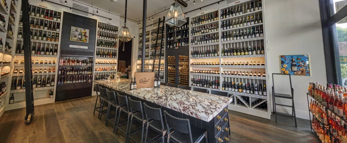 Intimate Wine Library with Large Marble Table in San Francisco Hero Image in Pacific Heights, San Francisco, CA