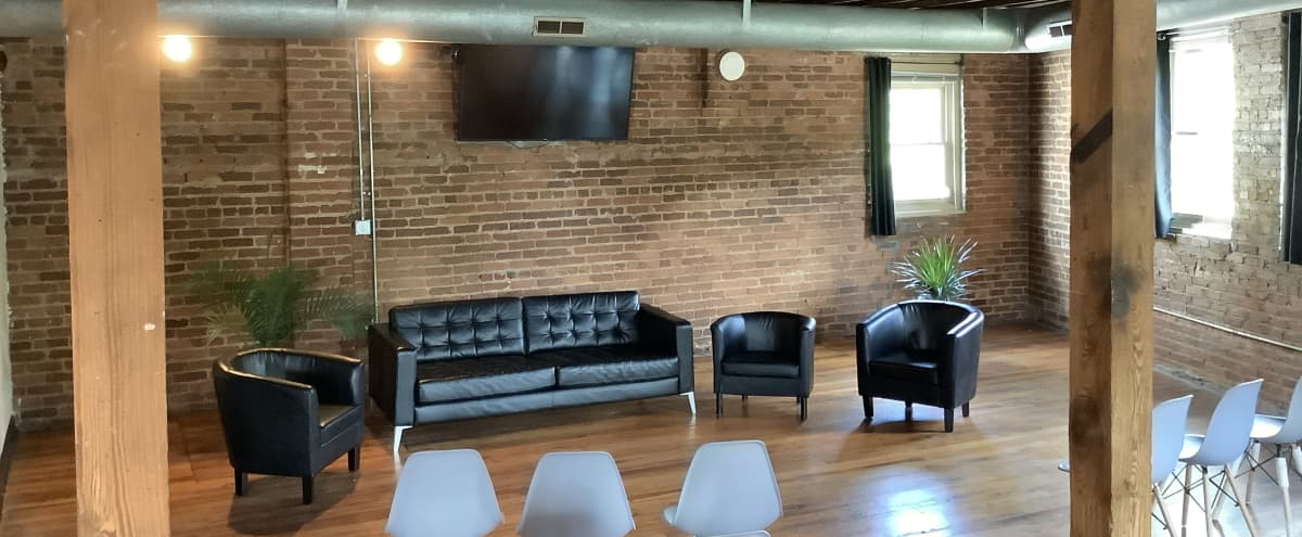 Versatile Downtown Open Space with Exposed Brick and Skyline View in Atlanta Hero Image in Sweet Auburn, Atlanta, GA