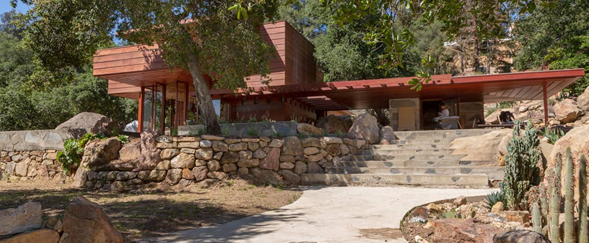 Anderson - Desert Style architectural masterpiece with natural wood panels in Topanga Hero Image in Fernwood, Topanga, CA