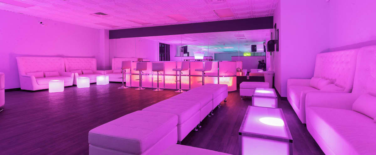 Fully Equipped Event Space with White Leather Lounge and LED furniture, 70\ in Somerset Hero Image in Somerset, Somerset, NJ